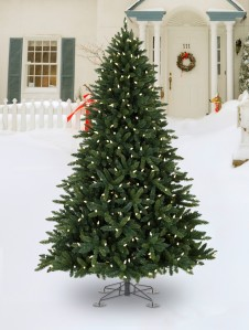 Artificial Christmas tree decoration on outdoor